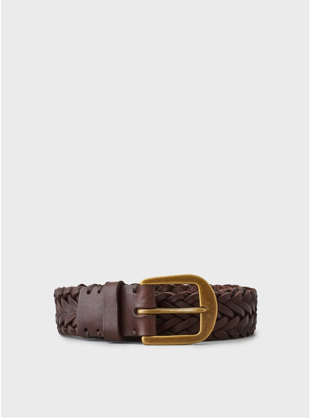 Walnut Brown / Brass Buckle Braided Belt