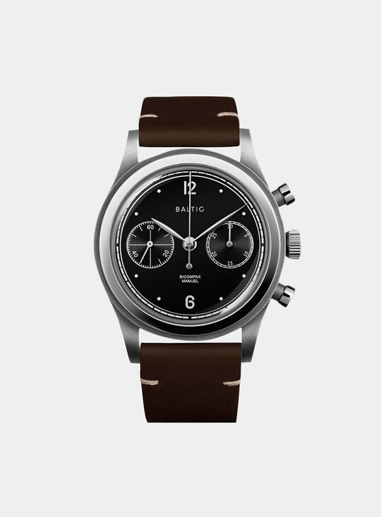 Black Silver / Tobacco Bicompax 001 Watch