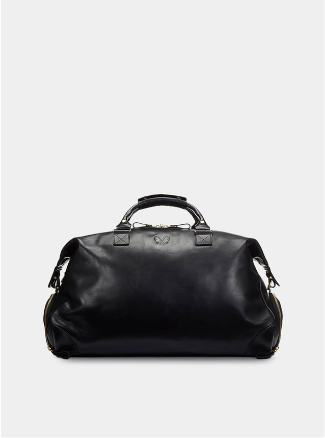 Black Leather Weekender Bag