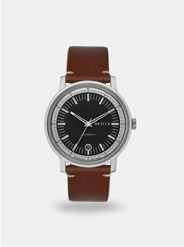 Black / Brown w/ Contrast Stitching BW003 Watch
