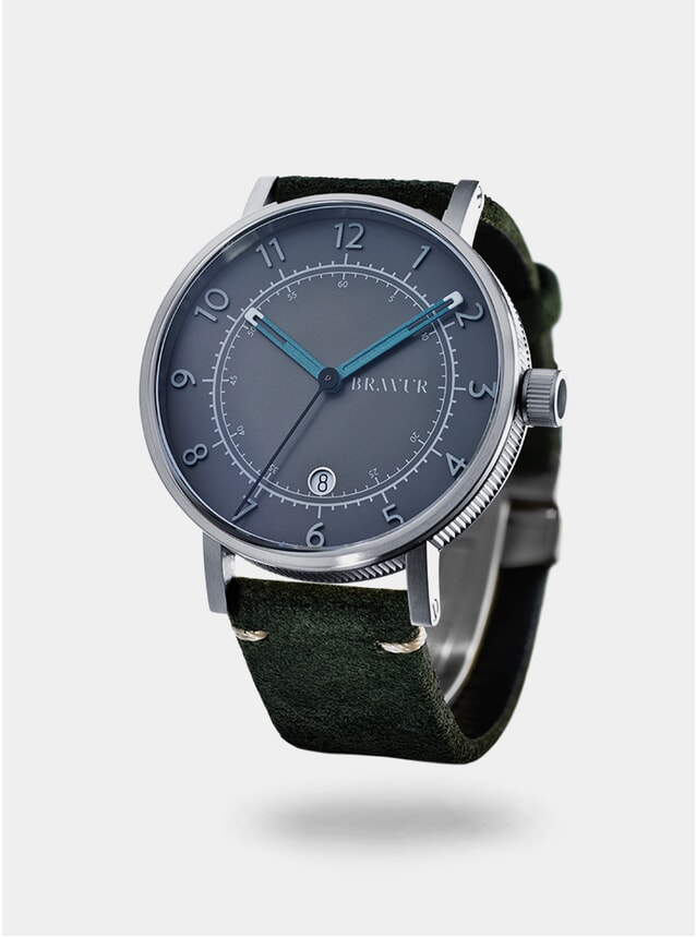 Grey / Dark Olive Suede BW001 Watch