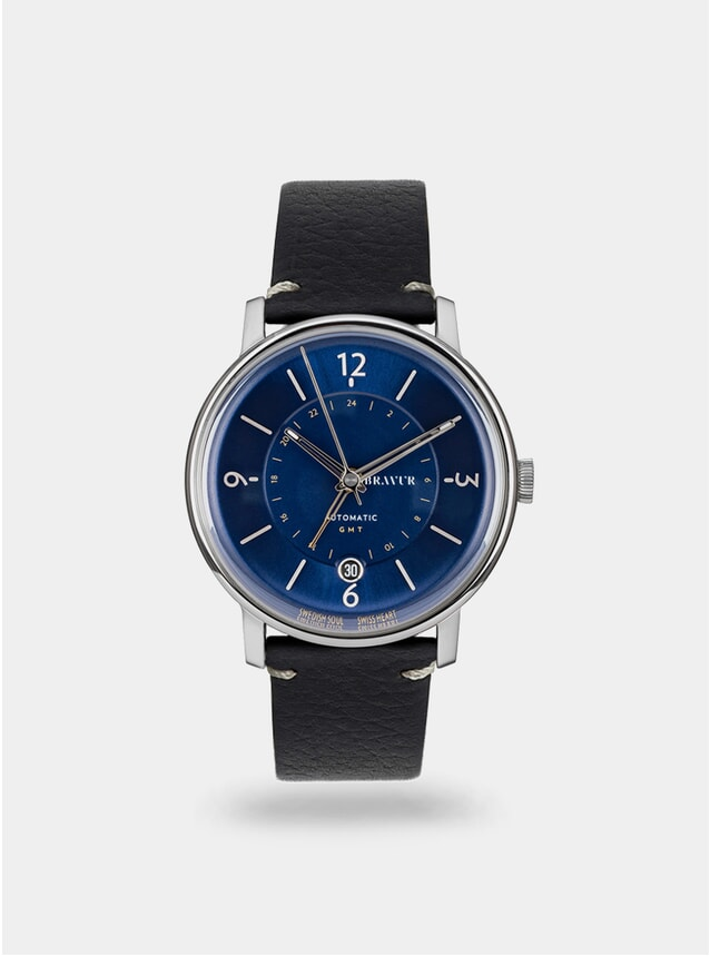 Midnight Blue / Black w/ Contrast Stitch Georgraphy Watch