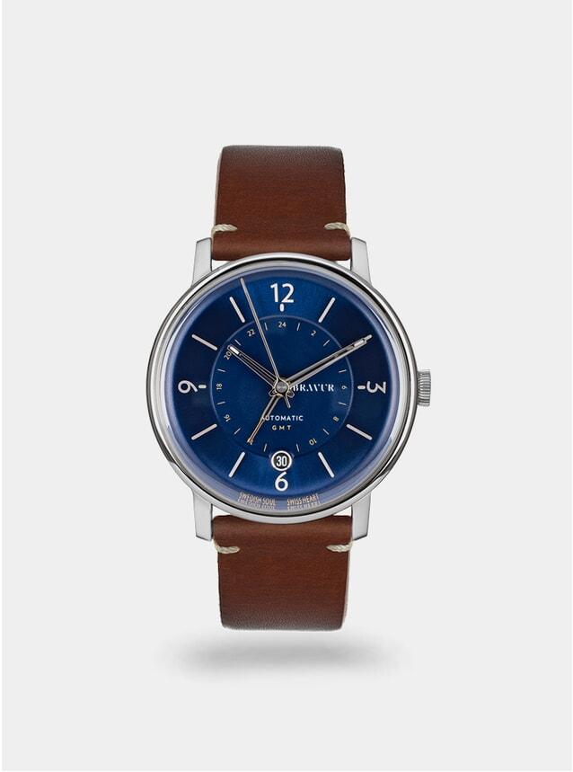Midnight Blue / Brown w/ Contrast Stitch Georgraphy Watch
