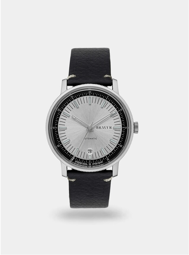 Silver / Black w/ Contrast Stitch BW003 Watch