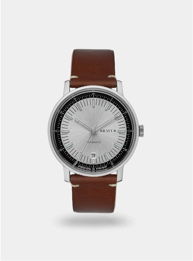 Silver / Brown w/ Contrast Stitch BW003 Watch