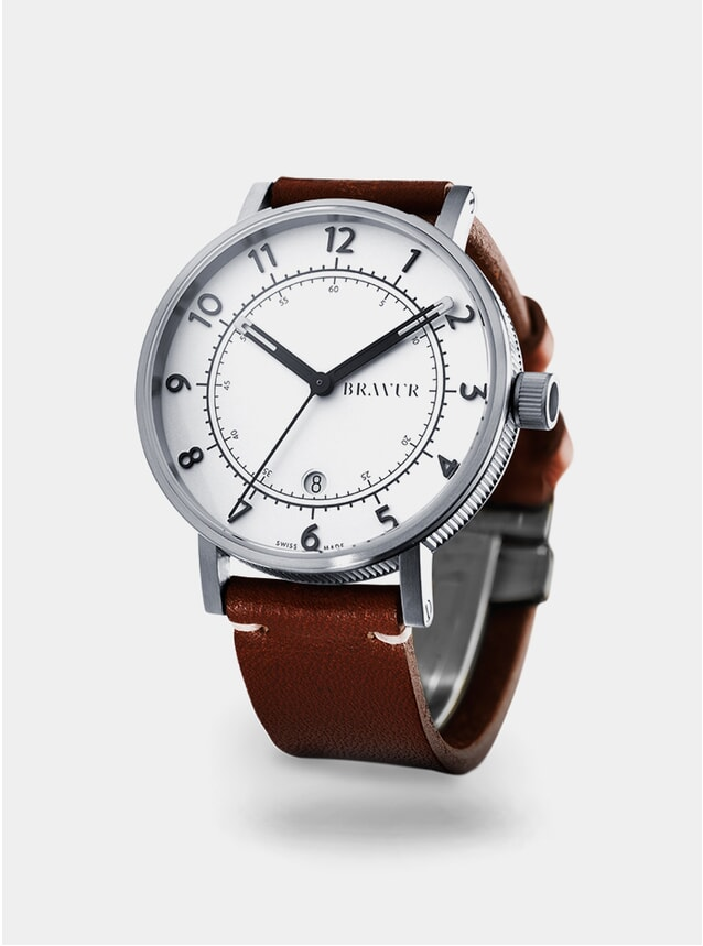 Silver / White / Brown BW001 Watch