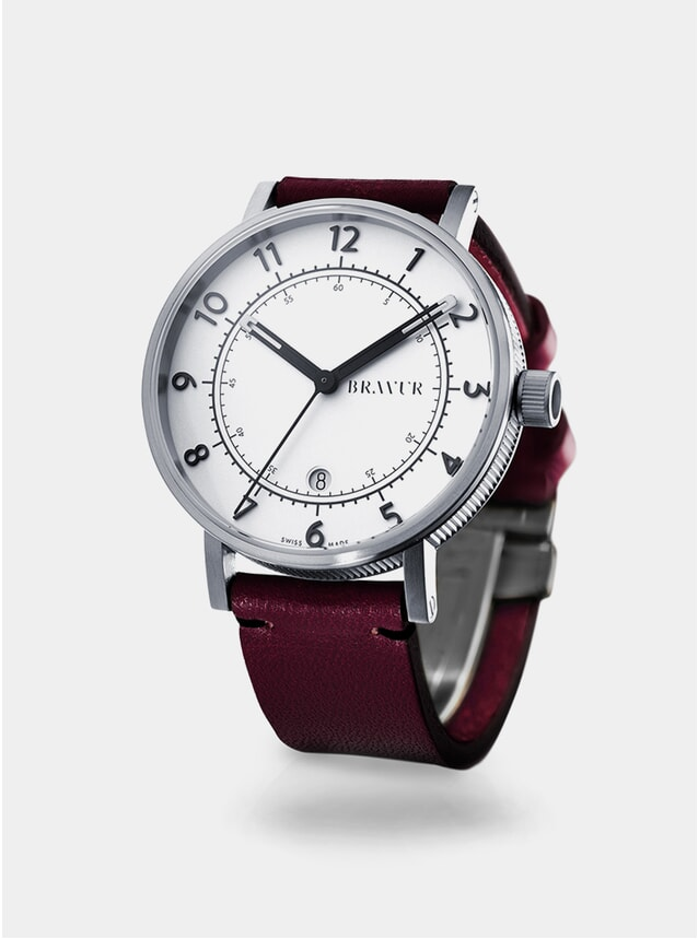 Silver / White / Burgundy BW001 Watch