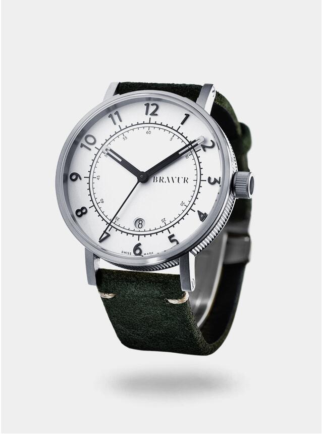 Silver / White / Dark Olive BW001 Watch
