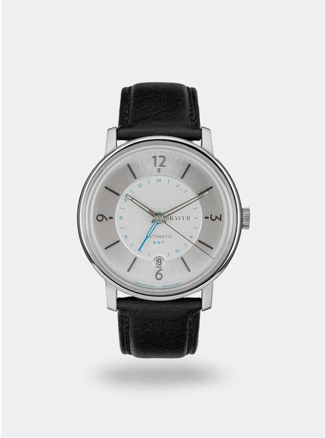 Sparkling White  / Black Georgraphy Watch
