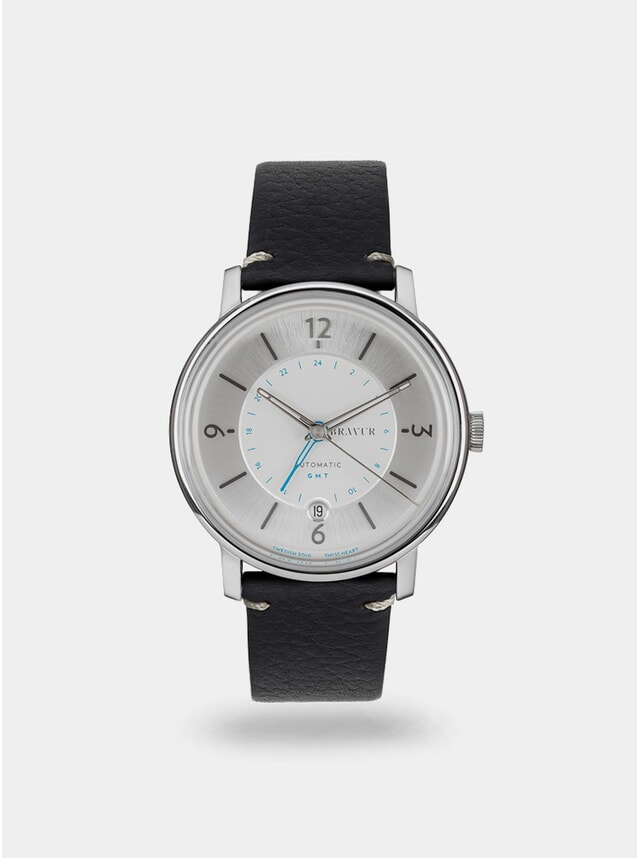 Sparkling White / Black w/ Contrast Stitch Georgraphy Watch