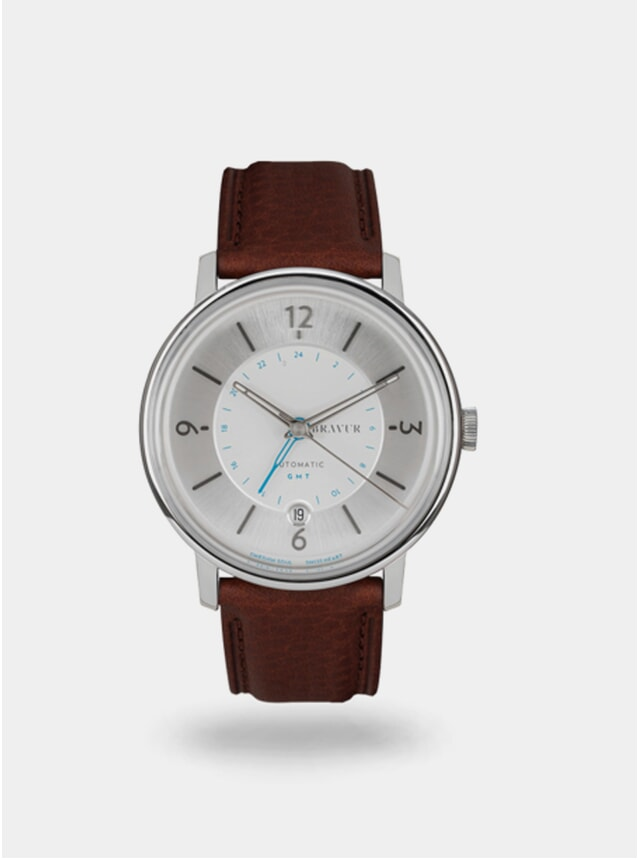 Sparkling White  / Brown Georgraphy Watch