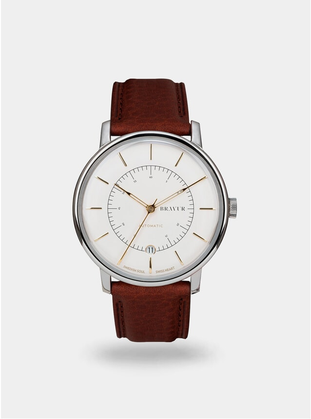 Sparkling White / Brown Scandinavia Watch