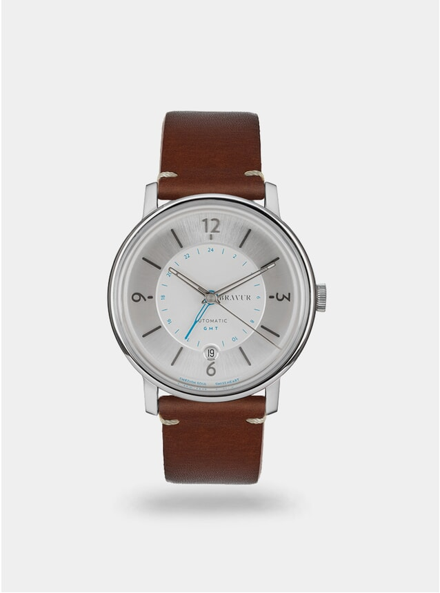 Sparkling White / Brown w/ Contrast Stitch Georgraphy Watch