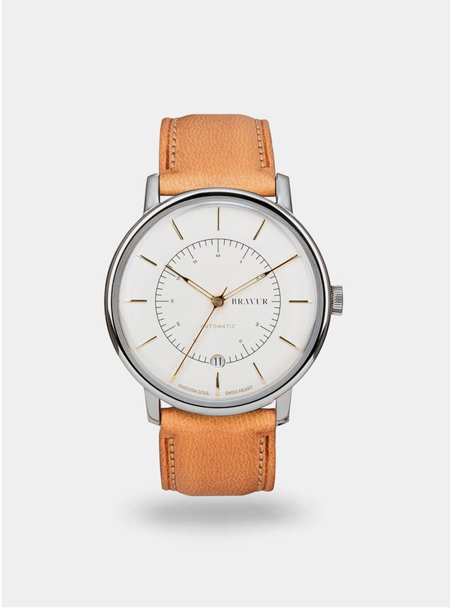Sparkling White / Tan Scandinavia Watch