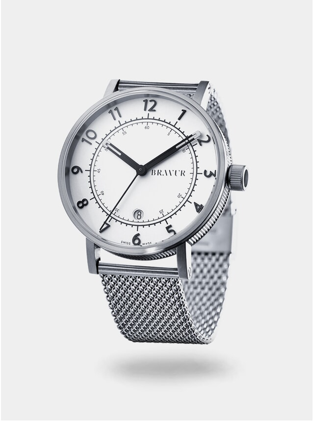 White / Silver Milanese Mesh BW001 Watch