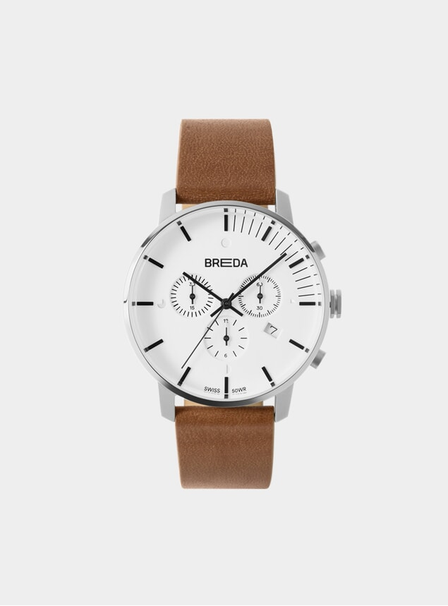 Silver / Brown Phase Chronograph Watch