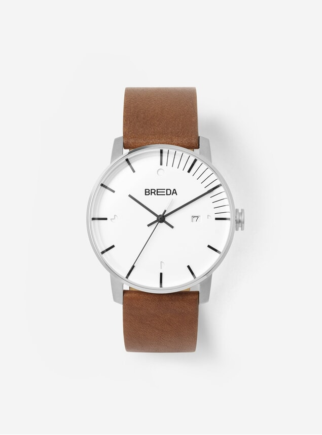Silver Brown Phase Watch
