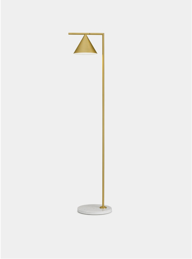 Brushed Brass / White Marble Captain Flint Floor Lamp