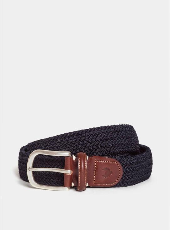 Navy / Dark Brown Jacko Leather Belt
