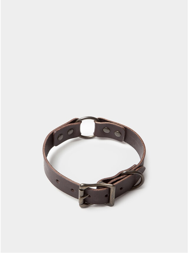 Black Coffee Leather Dog Collar