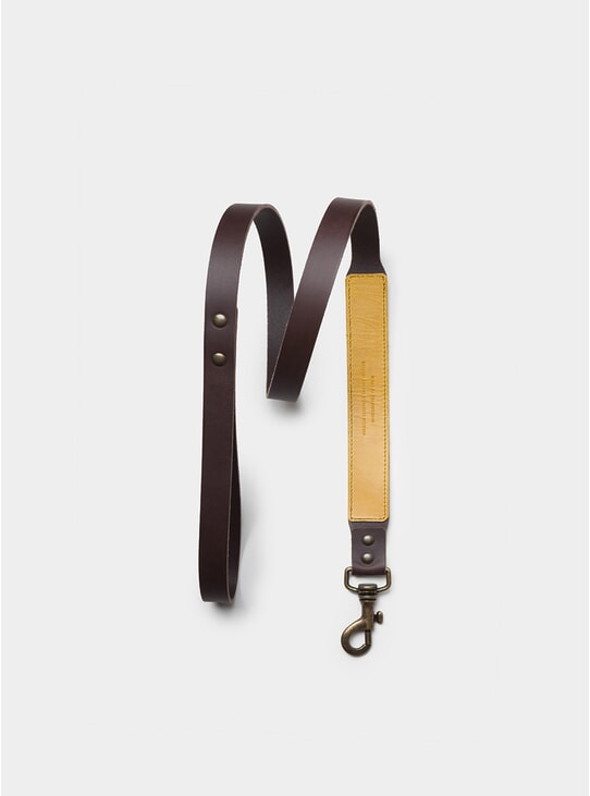 Black Coffee Leather Dog Leash
