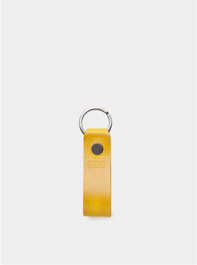 Mustard Coffee Leather Key Chain