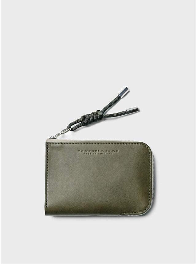Khaki Simple Zip Corner Wallet