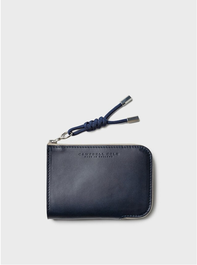 Navy Simple Zip Corner Wallet