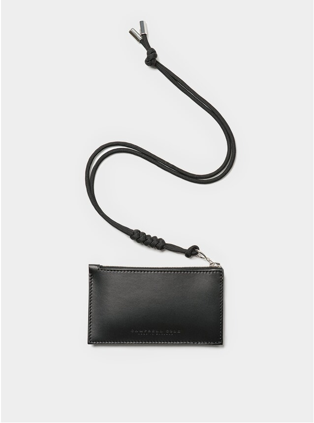 Black Simple Coin Pouch with Lanyard