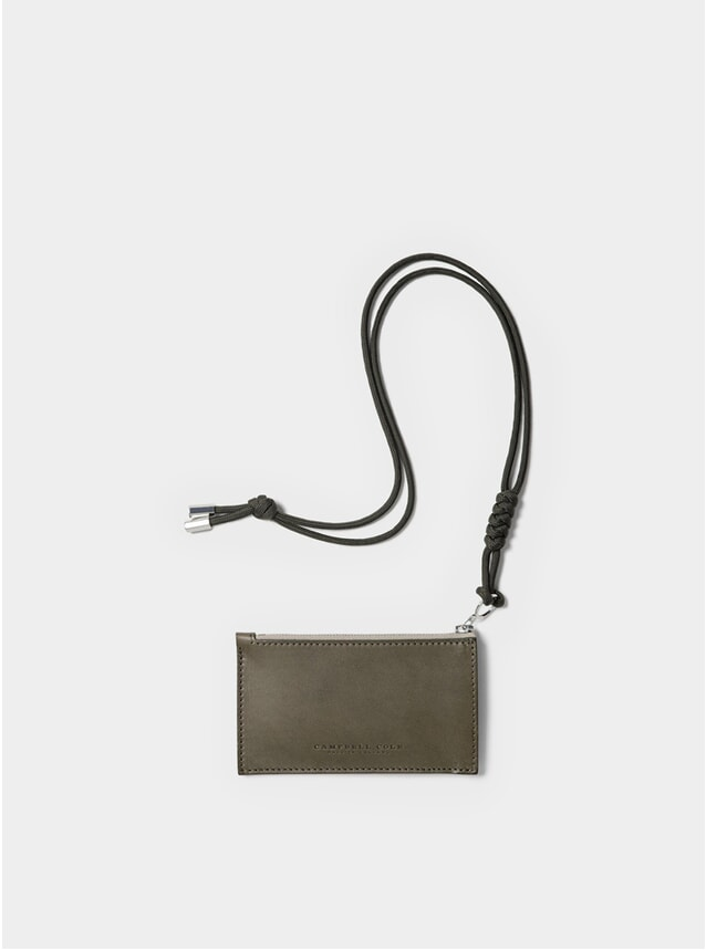 Khaki Simple Coin Pouch with Lanyard