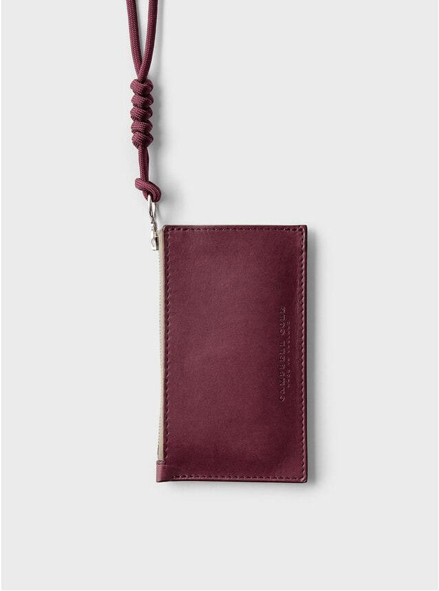 Burgundy Simple Coin Pouch, Lanyard