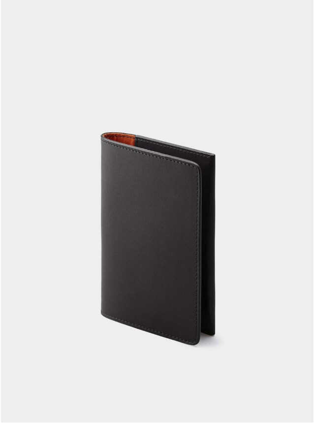 Black / Orange Lining Weston Leather Passport Holder