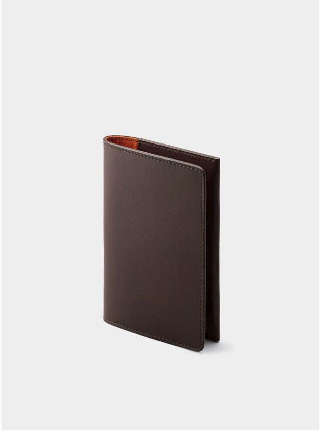 Chocolate / Orange Lining Weston Leather Passport Holder