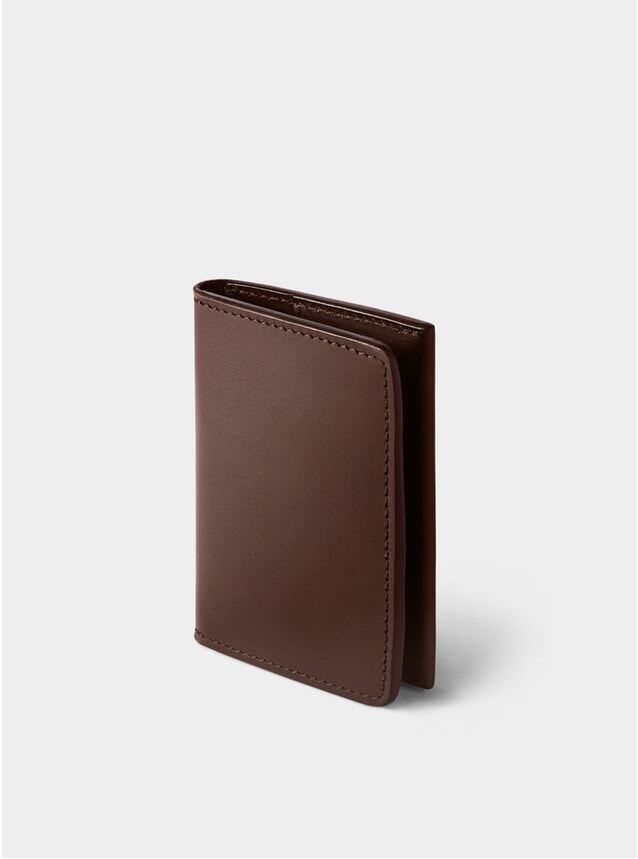 Chocolate Swanfield Leather Card Wallet