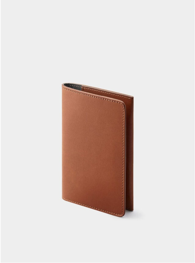 Cognac / Grey Weston Leather Passport Holder