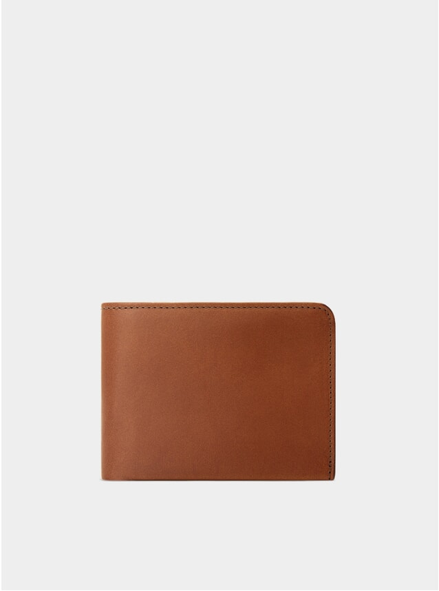 Cognac / Red Lining Amwell Bifold Wallet
