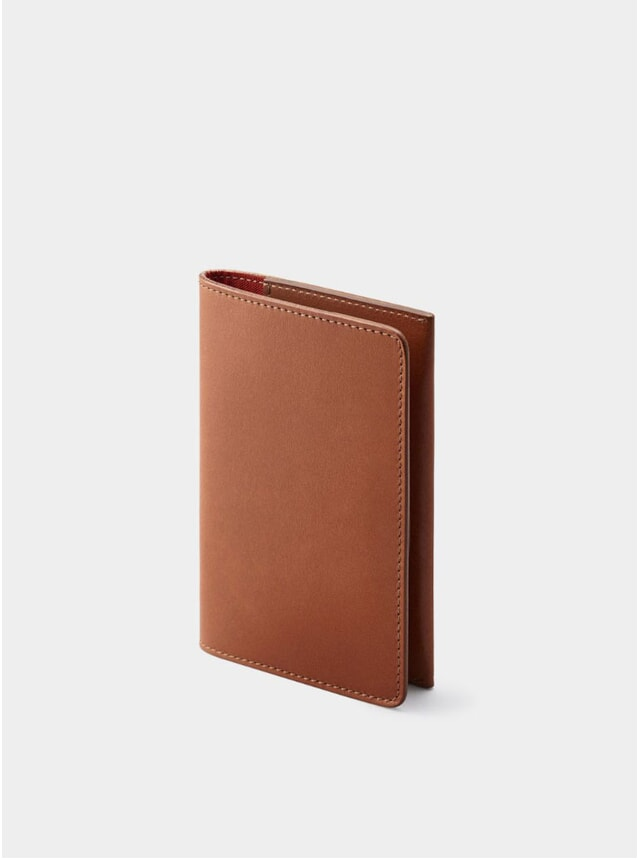 Cognac / Red Lining Weston Leather Passport Holder