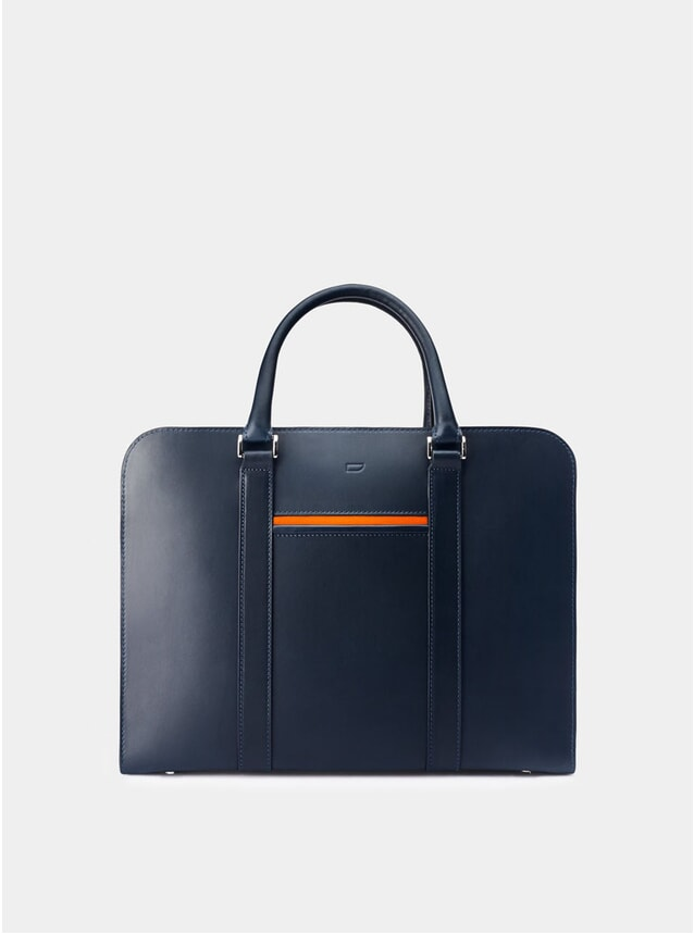 Navy / Orange Lining Palissy Briefcase