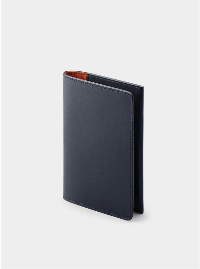Navy / Orange Lining Weston Leather Passport Holder