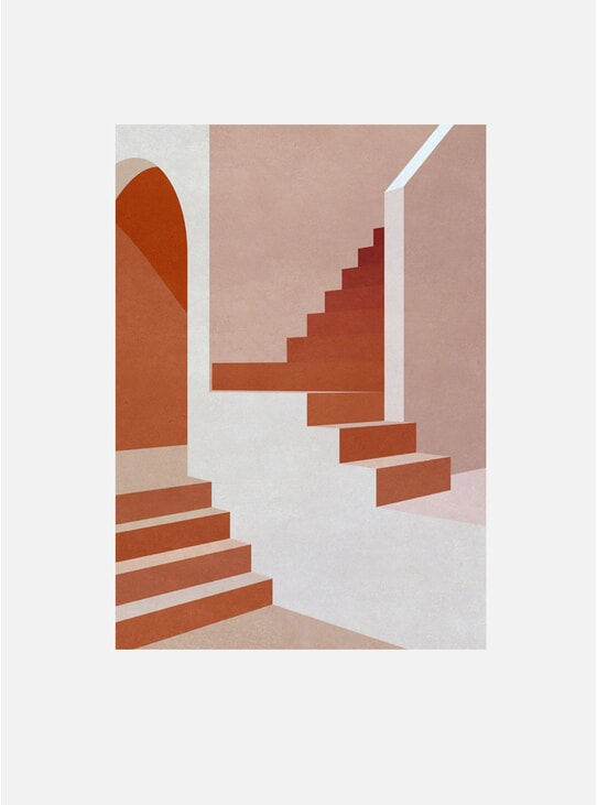 Pink Staircase Print