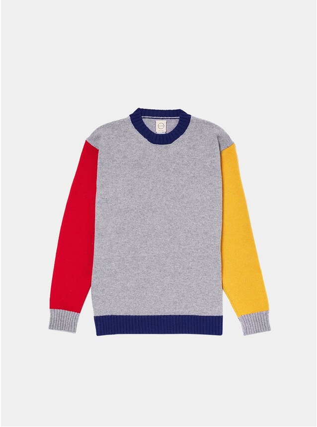 Grey Tricolour 1 Knitted Crew