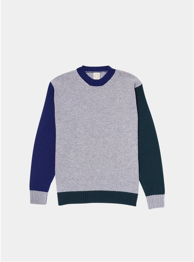 Grey Tricolour 2 Knitted Crew