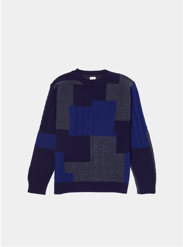Navy Boro Cableknit Knitted Crew