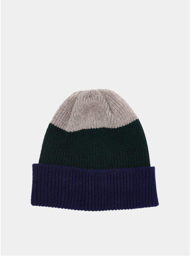Navy / Green / Grey Tri-Colour Watch Cap
