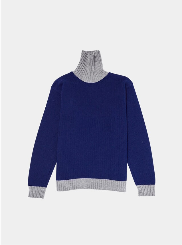 Navy / Grey Contrast Knitted Turtleneck
