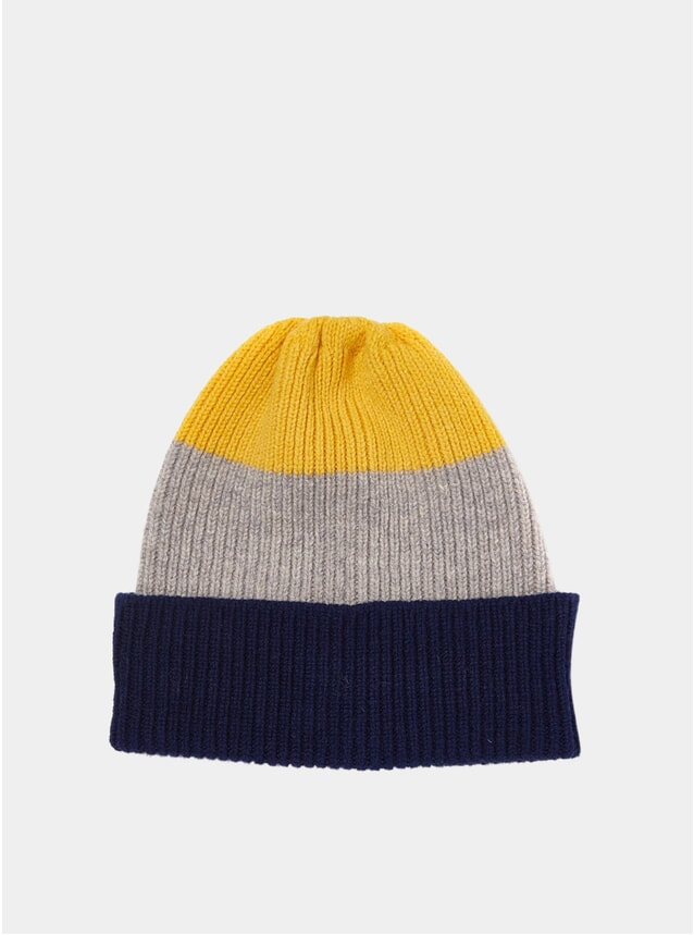 Navy / Grey / Yellow Tri-Colour Watch Cap