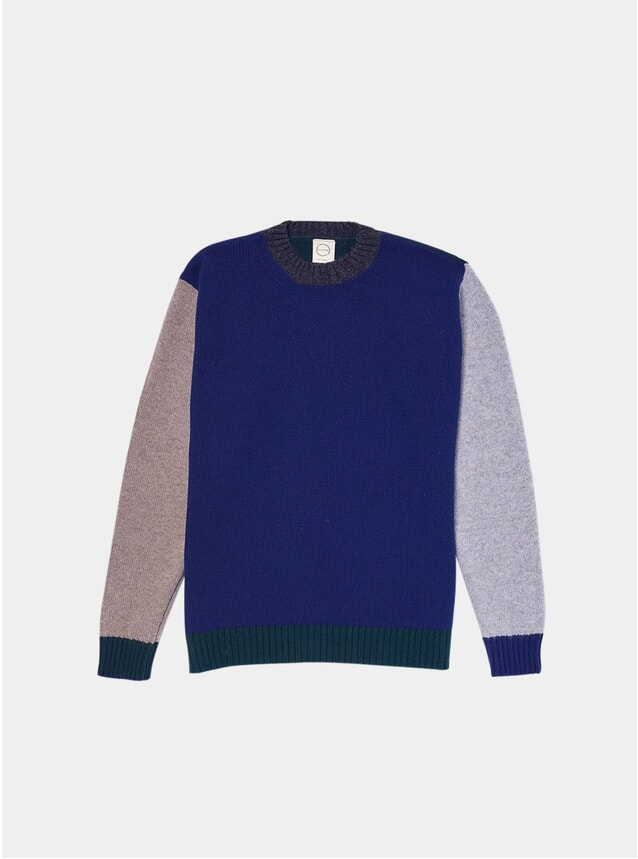 Navy Tricolour Knitted Crewneck