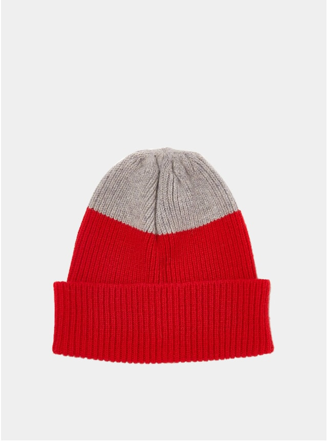 Red / Grey Top Tip Watch Cap