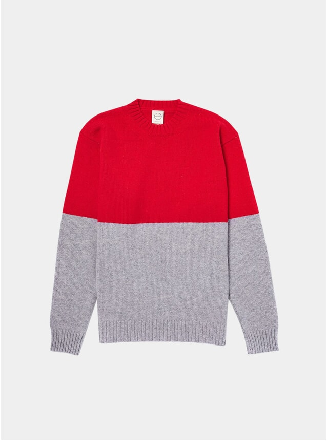 Red / Grey Updown Knitted Crewneck