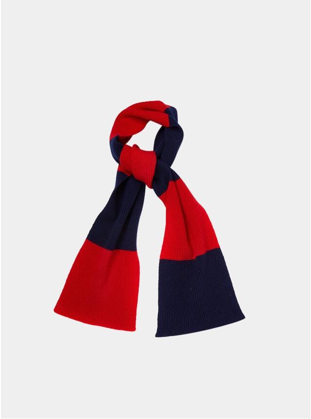 Red / Navy Stripe Scarf